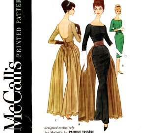 1960s Evening Dress Pattern Bust 36 McCalls 5588 Pauline Trigere Formal Sheath Gown Fishtail Bridal Wedding Womens Vintage Sewing Pattern