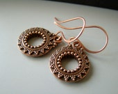 Moroccan Style, antique copper earrings with  copper earwires