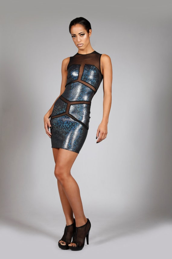 Items Similar To Holographic Robot Mini Dress In Black