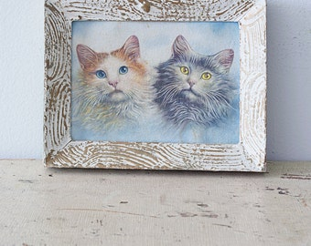 Adorable Cute Vintage Framed Kitten Cat Kitty Picture