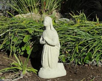 Vintage KNEELING MARY STATUE Solid Cement Concrete Garden Sculpture (c)