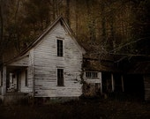 Dark spooky farmhouse, landscape photograph, browns, scary abandoned Appalachian homestead, unique gift, Halloween wall decor
