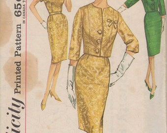 Bust 35-1960's Misses' Sheath Dress and Jacket Simplicity 4689 Sz 14 1/2