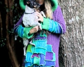 custom made to order   Recycled Sweater Coat Hoodie.  Guy .Unisex  upcycled fairy Elf  Large Hippie Grateful Dead Furthur