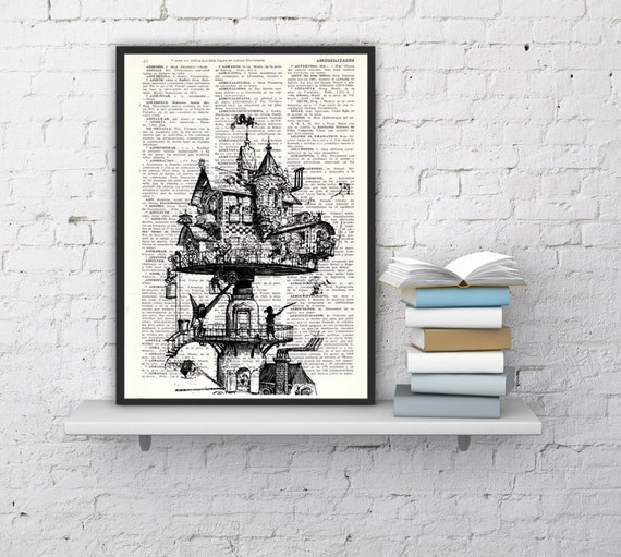 Spring Sale Steampunk House on book page -Printed on Vintage Book page - Wall art decor BPTV137b