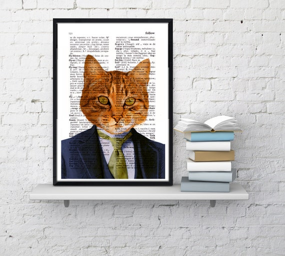 Summer Sale Giclee print  Business cat  Wall decor Unique Gift Cat book print Cat with suit wall hanging Pet poster art ANI066
