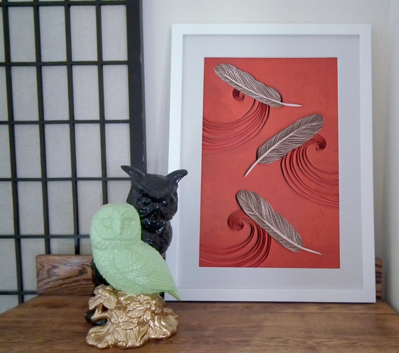 Feathers in the wind paper art print, feather poster, plumage print, hawk feathers print, Owl feather poster