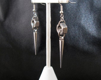 Nut spike earrings, silver tone industrial edgy hardware hex nut spike drop earrings