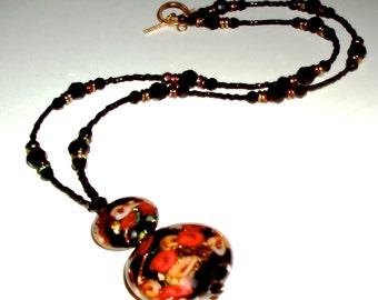 24K Gold and Multicolored Murano Glass Necklace