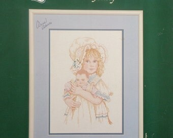 Jan Hagara's Painting Adaptation JENNY Girl With DOLL By Johnson Creative Crafts- Counted Cross Stitch Pattern Chart