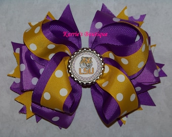 LSU Hair Bow or Headband / Purple & Gold Polka Dot  / Geaux Tigers / LSU Kids / Game Day / Girl / Baby / Infant / Toddler / Custom Boutique
