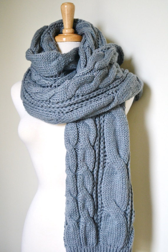 Knitting Pattern Super Chunky Scarf : GREY Super Chunky Knitted Cable Scarf Unisex Cozy Winter