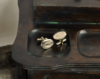 Vintage Mens Jewelry Gold Tone Oval Cuff Links Etched Vintage Mens Jewelry