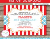 Carnival Invitation Template - Birthday Party - Circus Party - Red and Aqua - INSTANT DOWNLOAD with EDITABLE text - you personalize at home