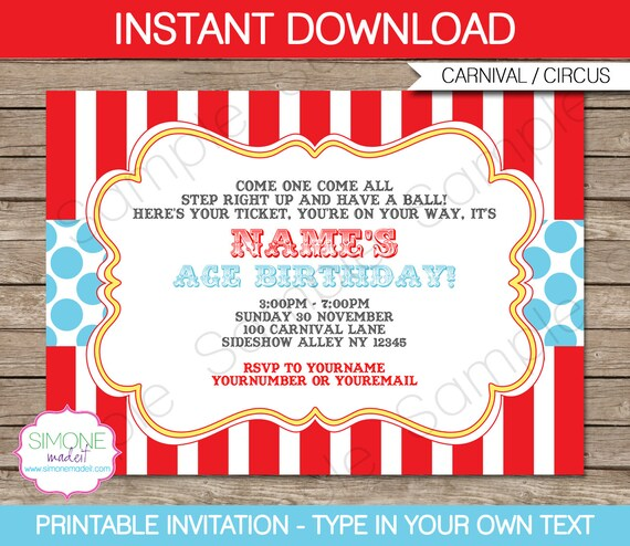 Carnival Invitation Template Birthday Party Circus Party Red