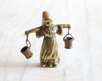 Dutch Water Carrier Girl - Antique Miniature Brass Figure