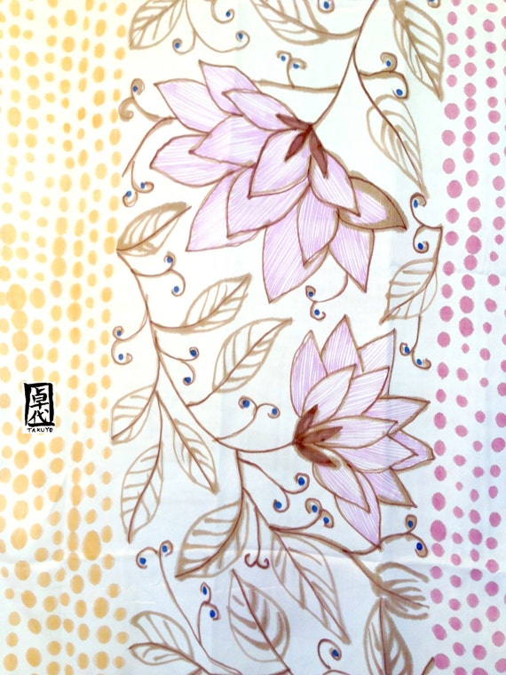 Hand painted Silk Shawl, Intricate Japanese Multicolor Floral Scarf, Purple, Pink, and brown, Silk Scarves Takuyo. Approx 22x90 inches