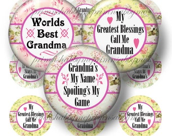 Grandma Sayings, Bottle Cap Images, Digital Collage Sheet, Instant Download, Printable 1 Inch Circles, Shabby Cottage Chic,  (RC1)