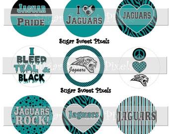 INSTANT DOWNLOAD Teal Black  Jaguars 2 School Mascot 1 inch circle Bottlecap Images