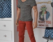 1/6th scale grey striped V-neck T-shirt for: male collectible action figures and fashion dolls