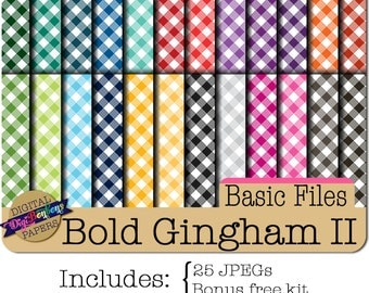 Digital Paper Pack- Gingham -  Digital Scrapbook- Commercial use included- bright colors, gingham pattern, digital scrapbooking papers