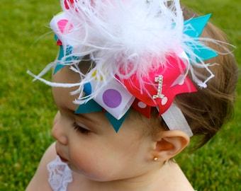 Birthday Hair Bow -  Birthday Headband - Birthday  Hair Bow