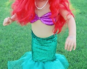 FULL Little Mermaid (Ariel) Halloween Costume TOP and SKIRT - Sizes 0-4t
