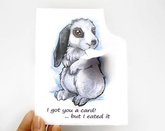 Bunny Card, Funny Greeting Card, Rabbit Art, Blank Notecard, Thinking Of You, Happy Birthday, Thank You, Custom Message, Personalized Name