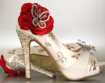 Custom Wedding Shoes -- Ivory Peep Toe Wedding Shoes with Silver & Gold Rhinestones, Gold Glitter Sole and Red Rhinestone Butterflies