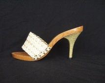 UK 3 Vintage 1950s Rockabilly shoes wooden stiletto mules EU 36 US 5