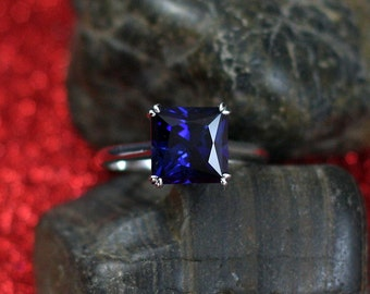 Blue Sapphire Engagement Ring Princess Solitaire Phoebe 2.5 3 ct 8mm Custom Size White-Yellow-Rose Gold-10k-14k-18k-Platinum