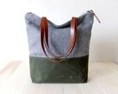 Zippered Tote Bag - Herringbone Tweed - Waxed Canvas Base in Olive Green - Leather Handles in Brown - Natural Lining - Shoulder Bag