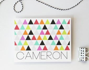 Tribal Print Stationery Custom Stationary Personalized Geometric Print Bright Polka Dot Triangle Print Modern Note Cards Thank You Notes