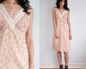 Vintage 70s Sweetheart Lace & Floral Print Dress / size S M