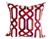 P Kaufmann Decorative Pillow Accent Pillow Pillow Cover Trellis Pattern 18x18 20x20 22x22 or 12x14 Lumbar Pillow Raspberry Red Pink & Ivory