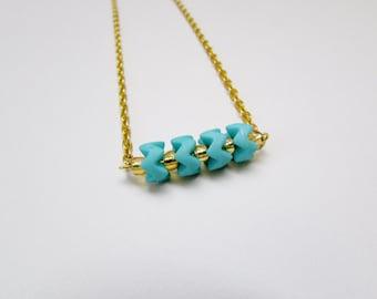 Turquoise Zigzag Beaded Bar Necklace