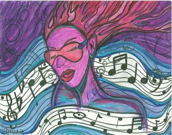 Abstract Music Notes Art: Supernovae Original Art Print Summer Jammin
