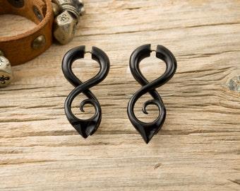 Fake Gauge Earrings Black Horn Earring Tribal Double Infinity Spiral Earrings - Gauges Horn - FG058 H G1