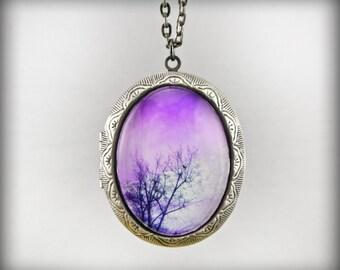 Purple Skies Silver locket Necklace Photo On Chain Original Handmade