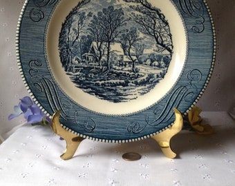 Vintage Dinner Plate Currier and Ives The Old Grist Mill by Royal