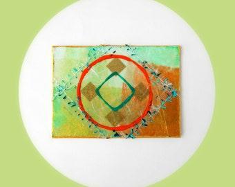 Geometric Modern Abstract Original Mixed Media Collage ACEO art card Small Mini Art