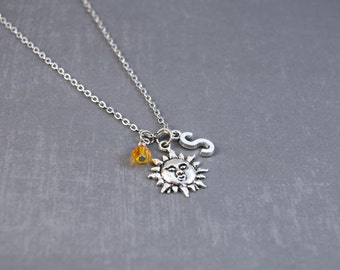Sun Necklace - Nature Jewelry - Planet Necklace - Solar Necklace - Science Pendant - Personalized Initial Necklace - Summer Necklace