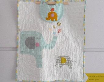Elephant baby quilt/stroller blanket/ me & my mom/Modern Nursery/Nursery bedding/ Nursery decor/Christmas/shower gift idea/Made to order