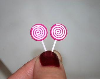 Lollipop Earrings -- Lollipop Studs, You choose the color!