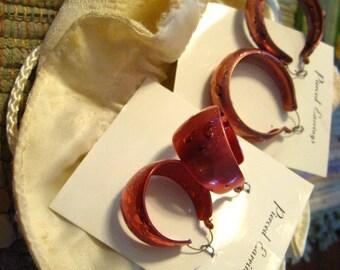 Vintage metal textured earrings.  Costume jewelry.  Lot.