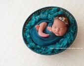 Newborn Photo Prop - Newborn Headband: Newborn Tieback, Newborn Flower Crown, Newborn Halo, Organic Photography Props, Blue, Pink, Lace