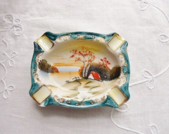 Noritake Cottage Sunset Ashtray, Small Asian Ashtray 20s