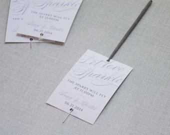 Scripted Elegance - Let Love Sparkle - Sparkler Reception Send-off Tags - Printable PDF