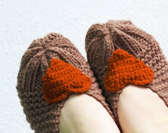 Knitted Slippers orange, Heart Slippers, Heart Knit Slipper, house shoes, Slippers, Socks, Winter Fashion, Teens, Girls' Shoes, ballet flats