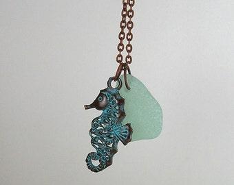Green Patina Sea Horse and Genuine Seafoam Sea Glass Necklace   278